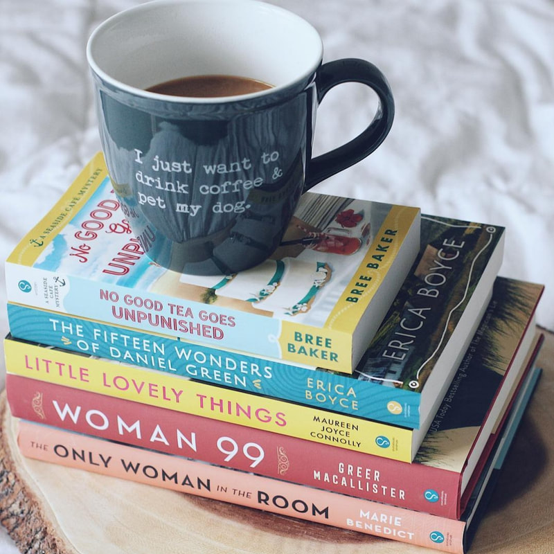 Book Stack including: No Good Tea Goes Unpunished by Bree Baker, The Fifteen Wonders of Daniel Green by Erica Boyce, Little Lovely Things by Maureen Joyce Connolly, Woman 99 by Greer Macallister, and The Only Woman in the Room by Marie Benedict